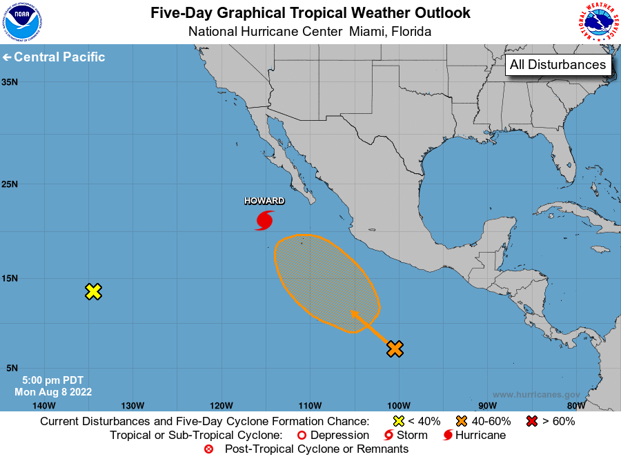 Eastern Pacific Ocean Tropical Weather Outlook from the NHC