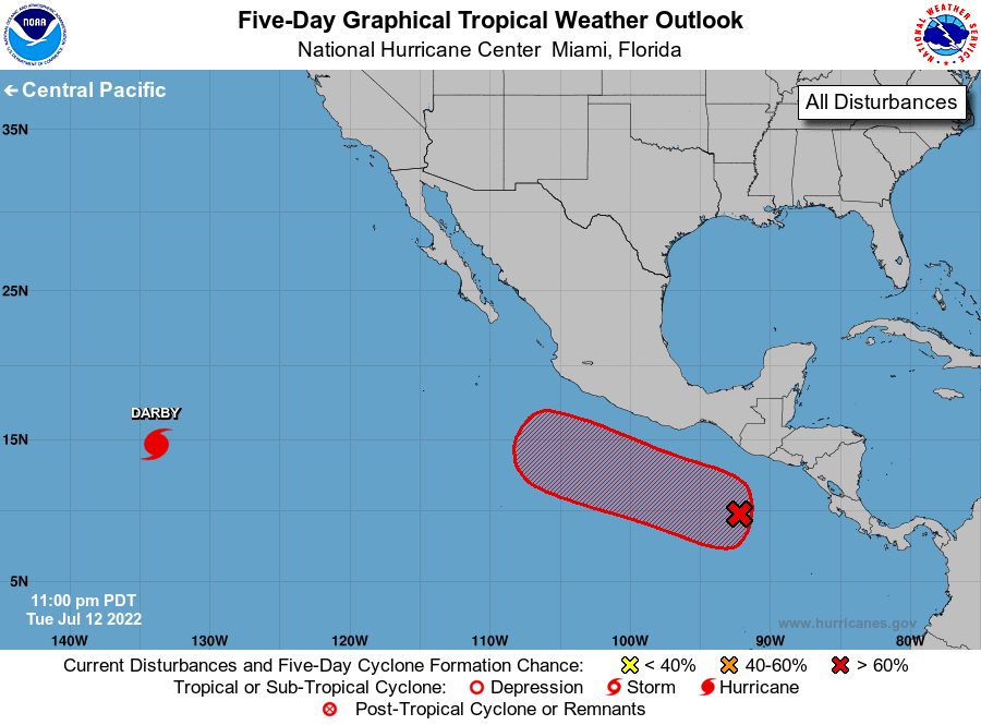 Five day tropical weather outlook for the Eastern Pacific basin